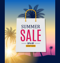 abstract summer sale background with palm leave vector image