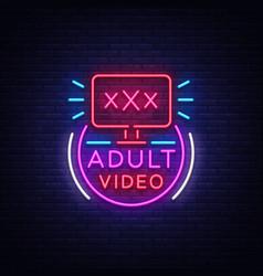 Adult video neon sign design template neon logo vector