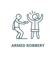 Armed robbery line icon linear concept vector