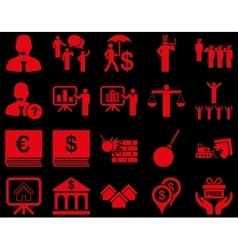 Bank service and people occupation icon set vector image