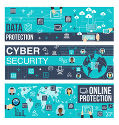 Banners of online internet cyber security vector