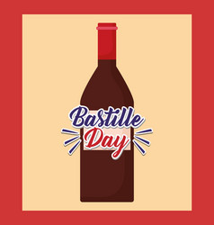 Bastille day celebration card with wine bottle vector