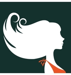 Beautiful elegant woman silhouette vector