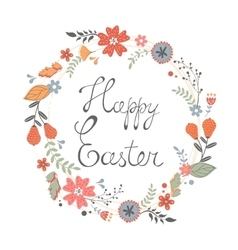 Beautiful happy Easter card with floral wreath vector image