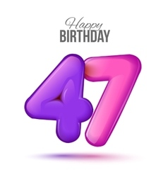 Birthday greeting card template with glossy forty vector