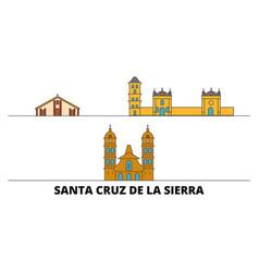 Bolivia santa cruz de la sierra flat landmarks vector
