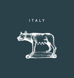 Capitoline wolf sculpture drawing rome vector