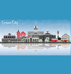Carson city nevada city skyline with color vector