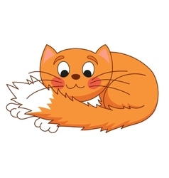 Cartoon plump red cat with kind muzzle stretching vector