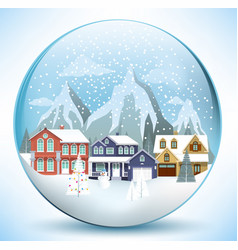 Christmas sphere with houses vector