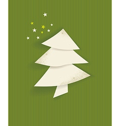 Christmas tree white isolated origami vector image