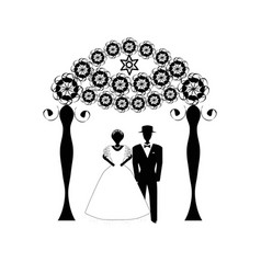 Chuppah arch jewish jewish wedding bride groom vector