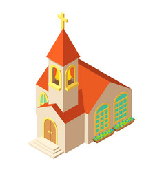 Church with cross icon isometric style vector