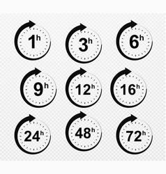 clock arrow 1 3 6 9 12 16 24 48 72 hours set vector image