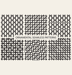 collection grid seamless patterns vector image