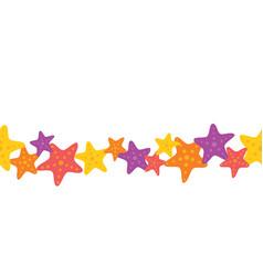 Colorful starfish seamless border vector