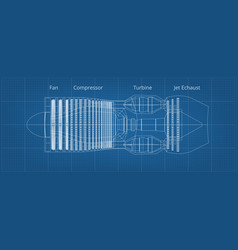 Commercial airplane jet engine blueprint side view vector