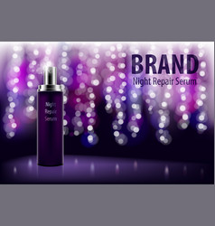 Cosmetic moisturizing brand product shiny violet vector
