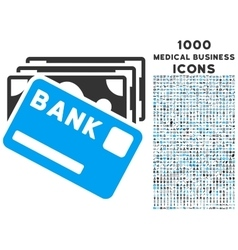 Credit Money Icon with 1000 Medical Business Icons vector