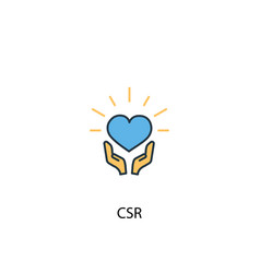 csr concept 2 colored line icon simple yellow and vector image