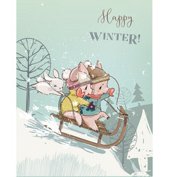 cute pigs on sleigh vector image