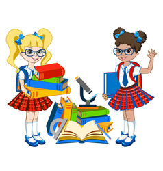 cute schoolgirl with color books vector image