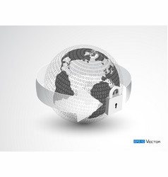 earth lock and binary code vector image
