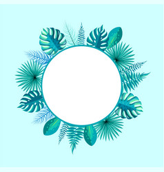 Empty round frame spare place for text palm leaf vector