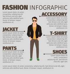 Fashion infographic with man in jacket vector