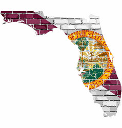 Florida map on a brick wall vector