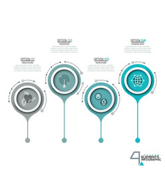 four circular elements with thin line pictograms vector image