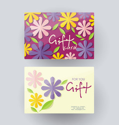gift card design template with floral decoration vector image