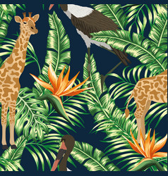 giraffe stork seamless tropical pattern dark blue vector image