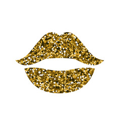 gold lips with sequins vector image