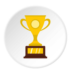 gold winner cup icon circle vector image