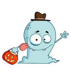 Goofy Blue Halloween Ghost Waving vector