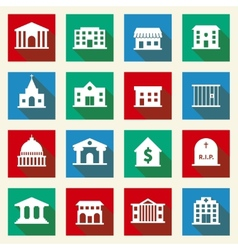 Government Buildings Icons vector image