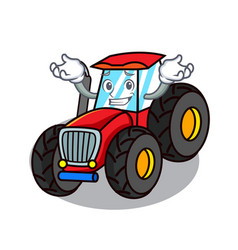 Grinning tractor character cartoon style vector