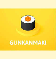 Gunkanmaki isometric icon isolated on color vector