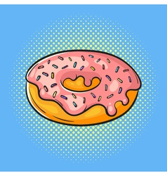hand drawn pop art of donut Fast food vector image