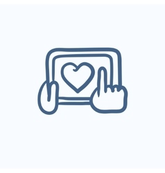 Hands holding tablet with heart sign sketch icon vector image
