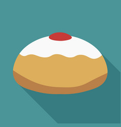 Hanukkah holiday sufganiyah flat long shadow vector