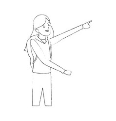 Happy pretty woman pointing excitedly with finger vector