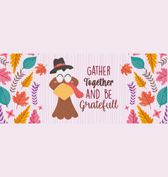 happy thanksgiving day greeting card turkey with vector image