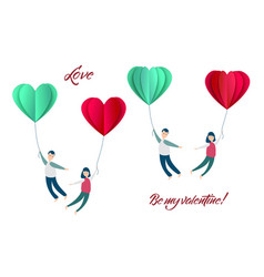 Happy valentines day paper heart couple vector