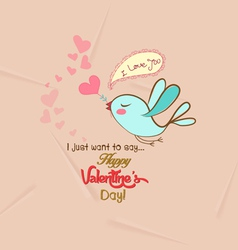 Happy valentines with bird greeting card vector