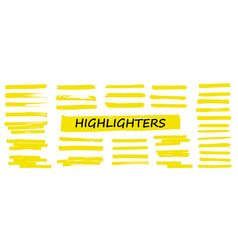 highlighter collection marker yellow set vector image