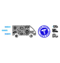 Infection collage fast delivery car icon vector