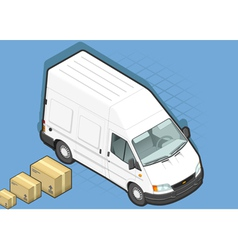 Isometric White Van in front view vector