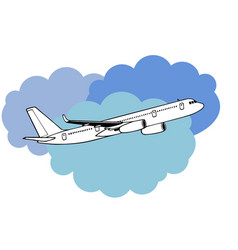 Jetliner hand drawn realistic doodle sketch vector